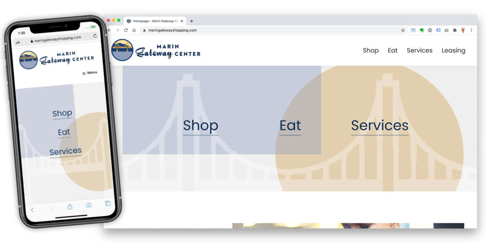 marin gateway shopping center website by lobstervine